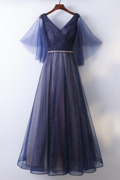Sexy A Line V-Neck Dark Blue Long Prom Dress Plus Size Women Party Gowns ,Cheap Evening Dress 2019
