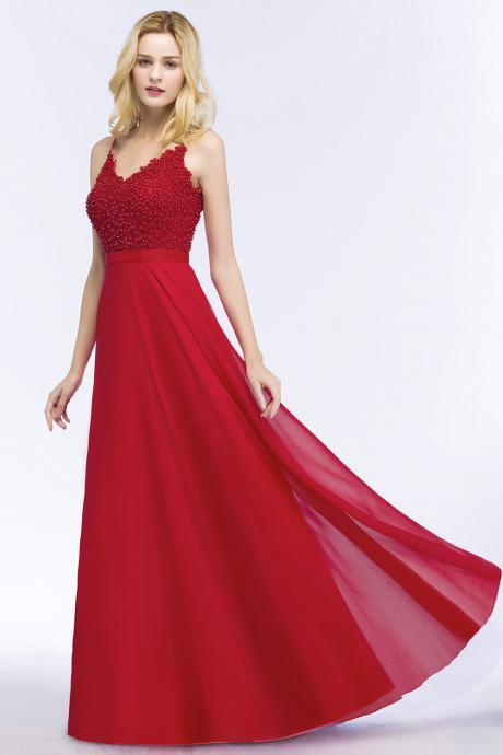 Fashion A Line Red Beaded Formal Evening Dress With Lace Appliqued Women Prom Dresses ,Pageant Dress For Girls