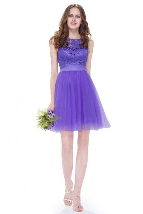 Sexy Purple Lace Tulle Short Homecoming Dress A Line Above Length Cocktail Party Gowns ,Custom Made Girls Party Gowns