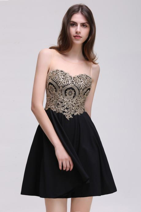 Custom Made Black Short Homecoming Dress With Gold Lace Appliqued Crew-Neck Sheer Cocktail Party Gowns .