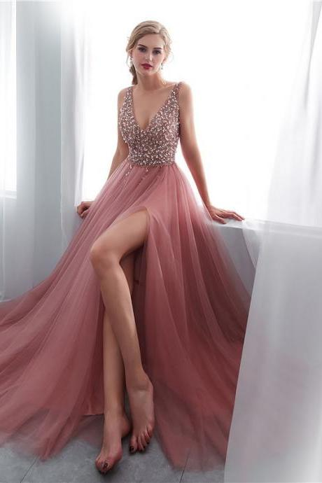 Sexy Beaded V-Neck Tulle Long Prom Dress 2019 Formal Evening Dress With High Split Women Prom Dresses