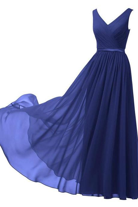 Cheap Royal Blue Chiffon Ruched Long Prom Dress A Line V-Neck Prom Party Gowns ,Custom Made Bridesmaid Dress