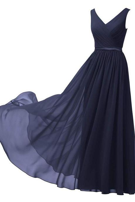 New Arrival Long Bridesmaid Dress V-Neck Maid Of Honor Gowns Custom made Women Party Dress