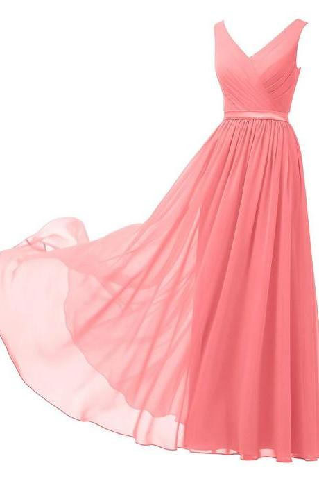 Plus Size Coral A Line Bridesmaid Dress ,Cheap Bridesmaid Party Dresses, Women Party Dress