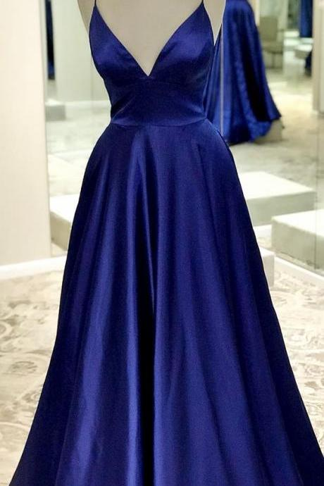 Royal Blue Satin Spaghetti Strap Long Prom Dress Custom Made Cheap Prom Party Gowns ,2019 Prom Dresses