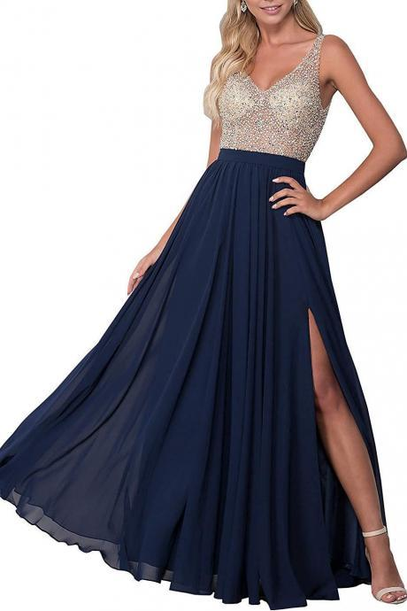 Elegant Beaded V-Neck Long Prom Dress Navy Blue Chiffon Formal Prom Gowns Sexy Backless Women Pageant Goowns