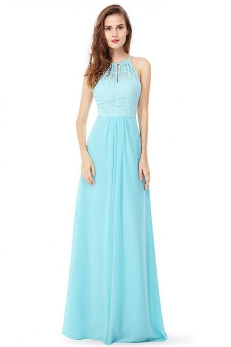 Sexy A Line Scoop Neck Long Prom Dress Lace Women Prom Gowns Plus Size Bridesmaid Party Dress