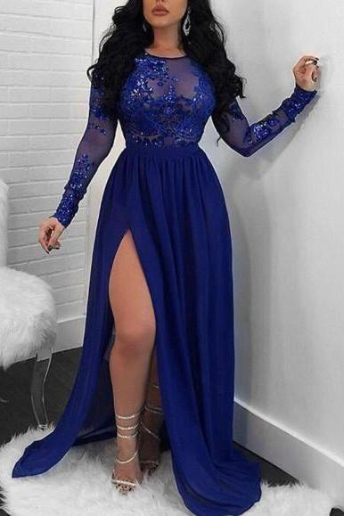Custom Made Long Sleeve Lace Appliqued Long Evening Dress 2019 High Slit Royal Blue Chiffon Women Party Gowns Backless Pageant Dress