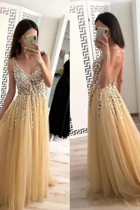 Elegant Champagne Tulle Beaded V-Neck Prom Dress Strapless Women Prom Gowns A Line Backless Formal Evening Dress