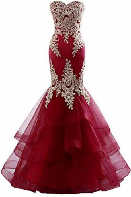 Off Shoulder Burgundy Tulle Mermaid Prom Dress 2019 Long Women Party Gowns Plus Size Evening Dress