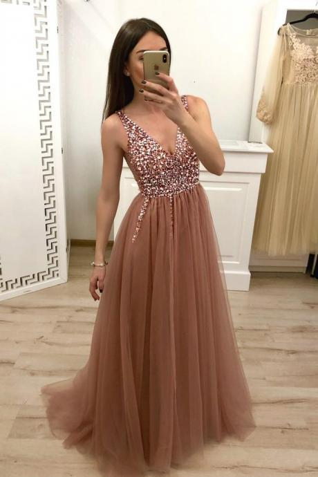 Sexy A Line Beaded Crystal Formal Evening Dress V-Neck Long Prom Dresses Plus Size Women Party Gowns .