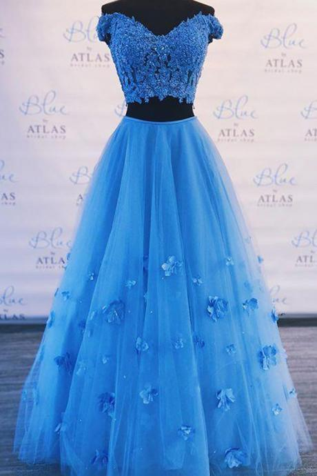 Fashion Blue Tulle Two Pieces Long Prom Dress A Line Homecoming Dress Plus Size Women Pageant Dress