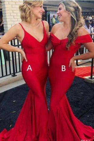 Charming Red Satin Mermaid Bridesmaid Dress Spaghetti Strap Long Bridesmaids Dresses Custom Made Wedding Guest Gowns