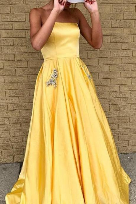 Sexy Off The Shoulder Yellow Satin Long Prom Dress A Line Women Party Gowns ,Plus Size Women Party Dress, Homecoming Party Dress