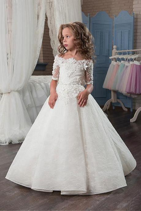 Fashion White Lace Flower Girl Dresses Custom Made Half Sleeve Pricess Girls Party Gowns ,Pricess Wedding Flowers Birthday Dress