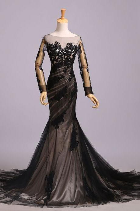 Fashion Black Tulle Sheer Neck Mermaid Evening Dress With Long Sleeve Women Prom Gowns Custom Made Prom Party Dresses