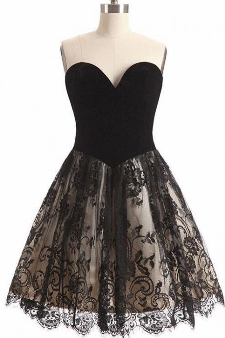Sexy A Line Black Lace Short Homecoming Dress Mini Women Party Gowns Custom Made Prom Gowns