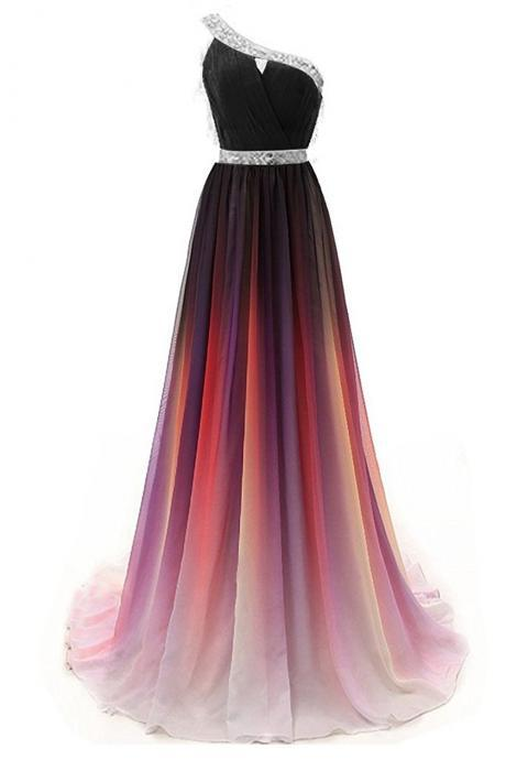 Sexy One Shoulder Beaded Gradient Long Prom Dress Plus Size Formal Evening Dress ,Cheap Women Party Gowns