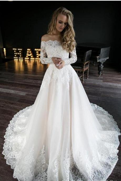 Off Shoulder Lace China Wedding Dress With Long Sleeve Appliqued Women Bridal Gowns , A Line Wedding Gowns