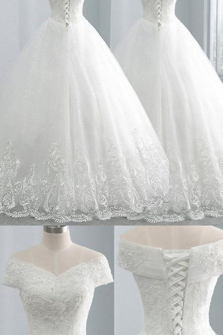 Sexy A Line Lace Wedding Dresses With Appliqued Custom Made Wedding Gowns