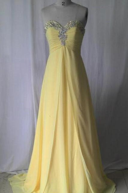 Elegant Yellow Chiffon Beaded Long Prom Dress A Line Cheap Prom Party Gowns Plus Size Wedding Party Dress