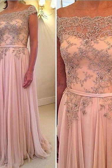 Elegant Blush Pin Ruffle Long Prom Dress With Caped Sleeve Floor Length Women Prom Gowns
