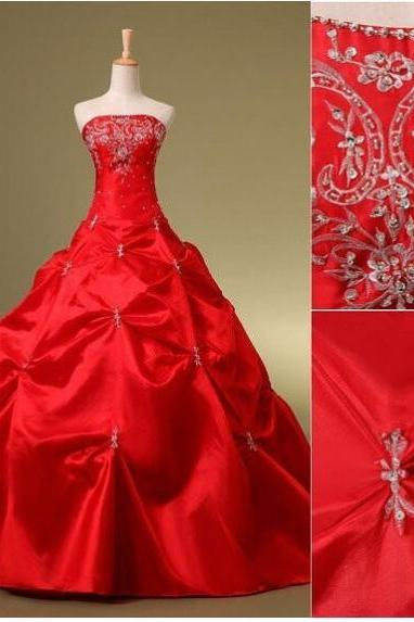 Off Shoulder Red Taffeta Ball Gown Wedding Dresses Embroidery Beaded Wedding Gowns Custom Made Bridal Party Gowns