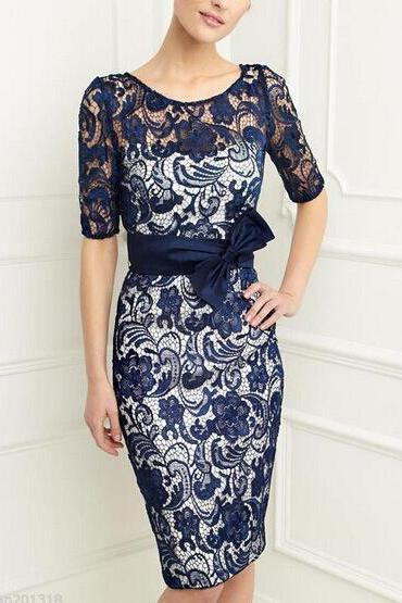 New Arrival Navy Blue Lace Short Mother Of the Bride Dresses With Jactes ,Sexy Fashion Women Gowns ,Mother Dress