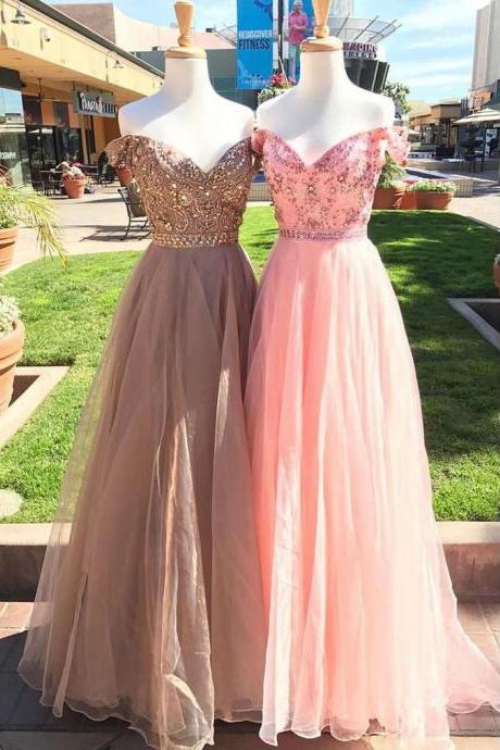 A Line Beaded Crystal Lonf Prom Dresses Sweet Pink Tulle Prom Gowns Custom Made Women Pageant Gowns