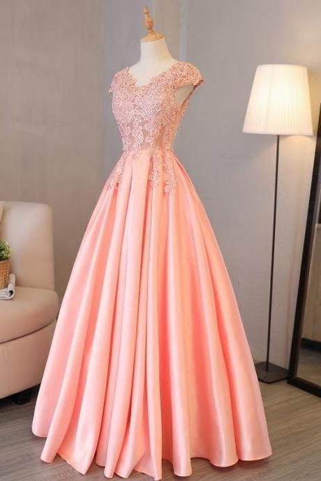 Elegant Coral Lace Appliqued Long Prom Party Dresses Women Pageant Gows, Cheap Women Party Gowns