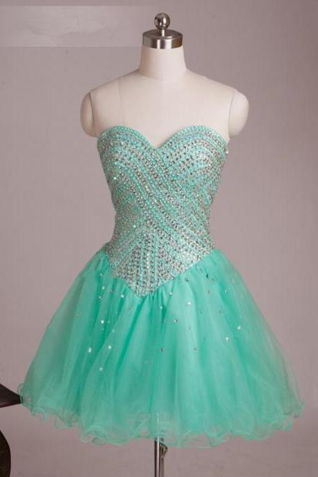 Sweet 16 Prom Dress, Mint Green tulle Short Prom Gowns , Short Cocktail Party Gowns .
