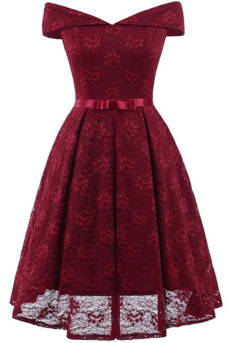 Fashion Burgundy Lace Dress A Line Women Bridesmaid Party Gowns Soft Lace Homecoming Maix Dresses Cheap. Mini Party Gowns