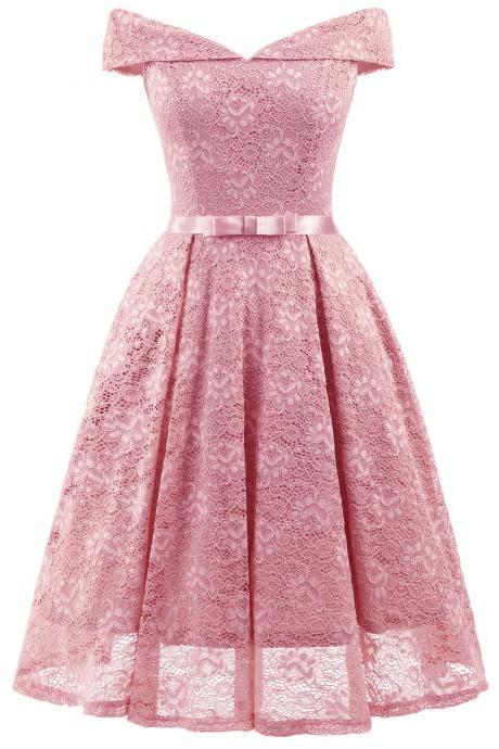 FashionPink Lace Dress A Line Women Bridesmaid Party Gowns Soft Lace Homecoming Maix Dresses Cheap. Mini Party Gowns