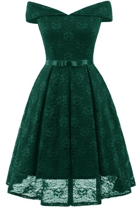 Fashion Green Lace Dress A Line Women Bridesmaid Party Gowns Soft Lace Homecoming Maix Dresses Cheap. Mini Party Gowns