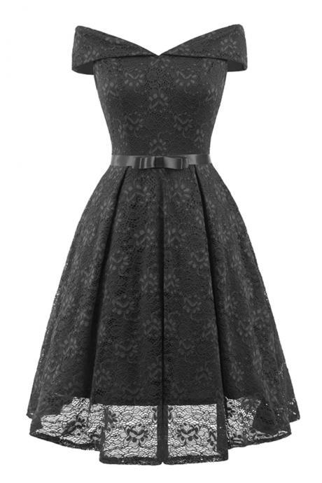 Fashion Black Short Lace Dress A Line Women Bridesmaid Party Gowns Soft Lace Homecoming Maix Dresses Cheap. Mini Party Gowns