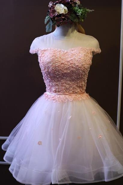 Off Shoulder Pink Floral Lace Short Homecoming Dress ,Sweet 16 Prom Gowns , Sexy Puffy Wedding Party Gowns , Junior Party Gowns 2019