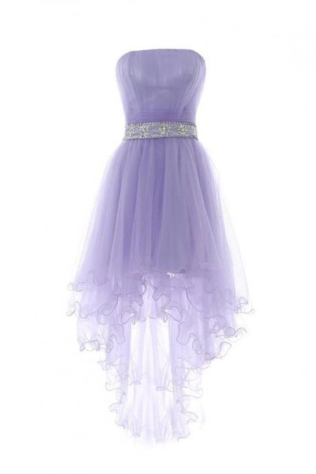 Fashion A Line Lavender Ruched High Low Prom Dress With Beaded Embellished Belt, High Low Homecoming Dress, A Line Wedding Party Gowns