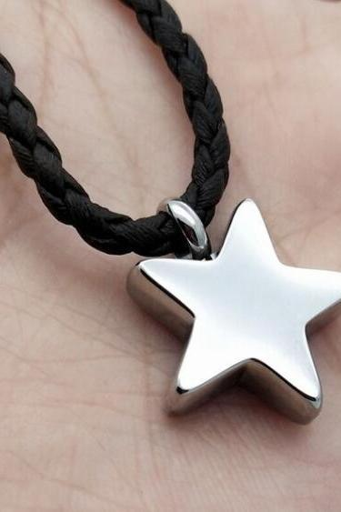 Fashion Silver Cremation Urns Necklace five-pointed star ashes memorial jewelry funeral accessories