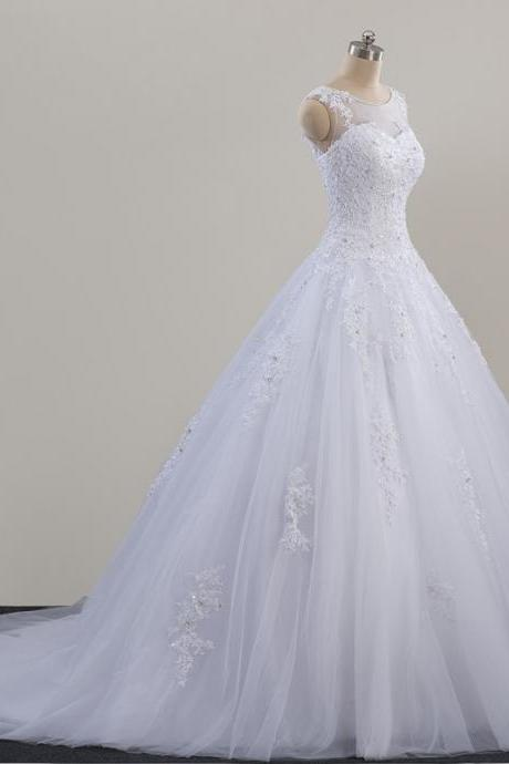 Sexy A Line Scoop Neck White Lace China Wedding Dresses With Appliqued Custom Made Women Bridal Gowns , Lace Wedding Gowns 2019