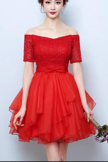 Red Lace Prom Dress Short Sweet Prom Party Gowns A Line Homecoming Dress 2019 Custom Made Short Cocktail Party Gowns