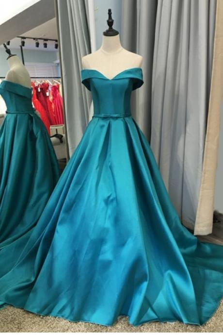 Simple A Line Off Shoulder Long Prom Dresses Custom Made Prom Party Gowns ,Cheap Prom Dresses 2019