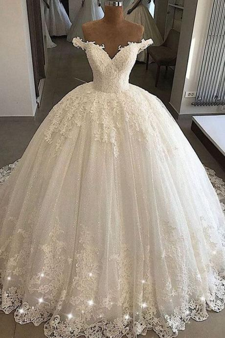 New Arrival Ball Gown White Lace Wedding Dresses Off Shoulder Women Bridal Gowns , Wedding Gowns 2019