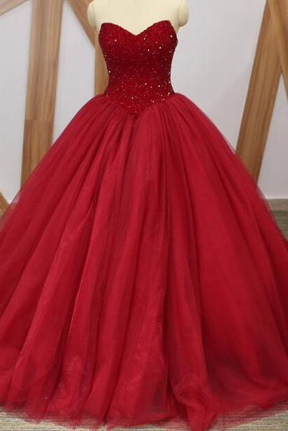 Charming Ball Gown Burgundy Beaded Long Quinceanera Dress Sweet 15 Quinceanera Gowns ,Sexy Puffy Wedding Dress .
