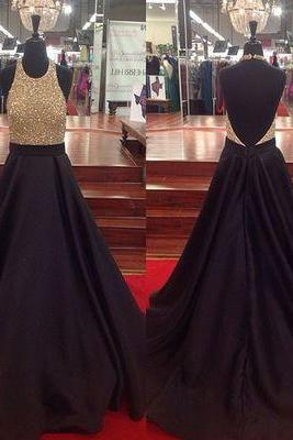Charming Backless Beaded Top Halter A Line Black Satin Long Prom Dress Strapless Prom Party Gowns Custom Made Women Gowns 2019