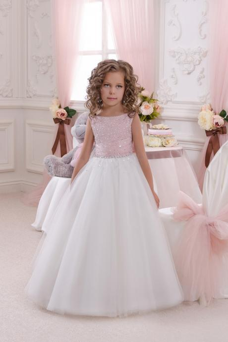New Arrival Beaded Top Long Flower Girls Dress With Bow First Communion Dress,Cheap Wedding Flower Gowns , A Line Kids Party Gowns 2019