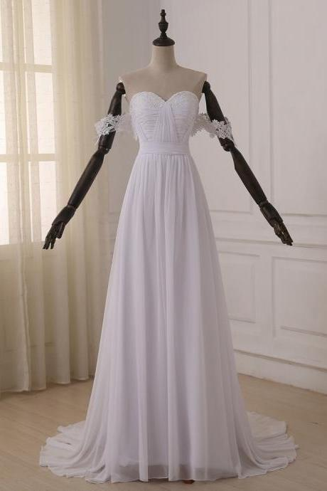 New Arrival A Line White Chiffon Ruffle Bohemain China Wedding Dress off Shoulder Beach Wedidng Gowns