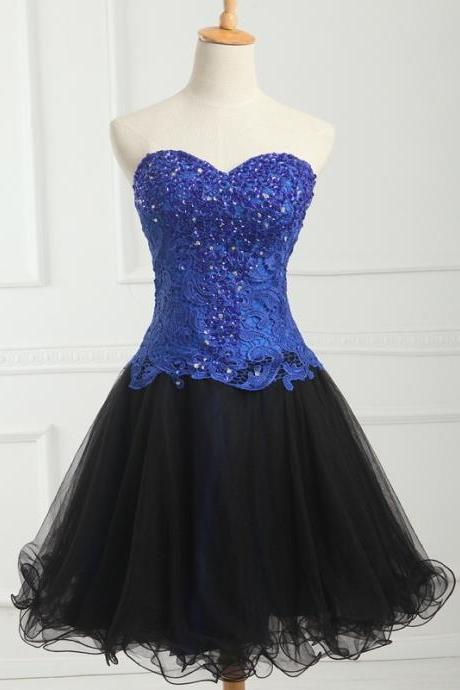 Blue Lace Beaded Short Homecoming Dress A Line Black Tulle Prom Party Gowns , Short Party Gowns 2019