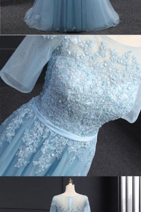 Sexy A Line Light Blue Lace Long Prom Dress With Appliqued Custom Made Prom Party Gowns ,Formal Evening Dress 2019