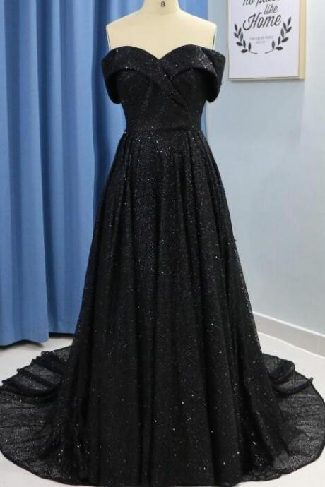 Off Shoulder Black Sequin Prom Dress Sweet 16 Prom Party Gowns Plus Size Formal Evening Dress