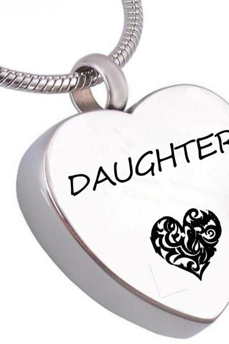 Unique call heart urn funeral ashes cremation necklace fashion jewelry accessorues Daughter